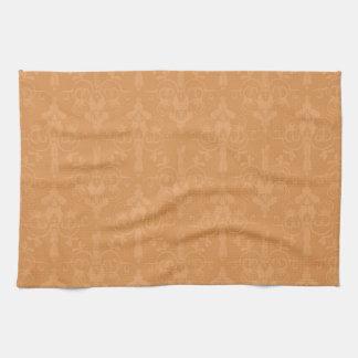 Vintage Burnt Orange Damask Pattern Towel