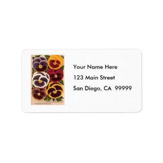 Vintage Burpee Assorted Pansies Address Label
