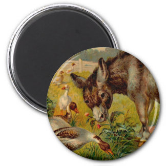 Vintage Burro With Geese 2 Inch Round Magnet