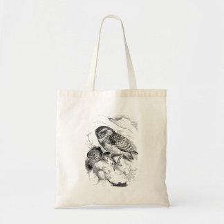 Vintage Burrowing Owl Chick Bird Illustration Bags