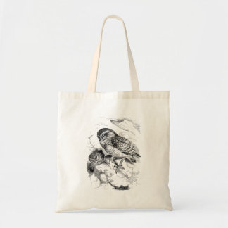 Vintage Burrowing Owl Chick Bird Illustration Tote Bag