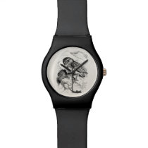 Vintage Burrowing Owl Chick Bird Illustration Wristwatch