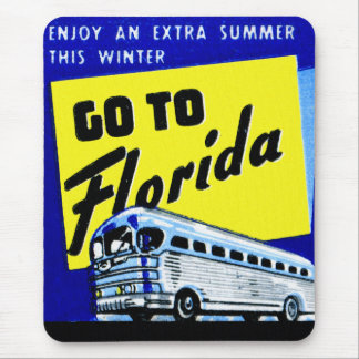 Vintage Bus Coach Matchbook Go To Florida Mouse Pad