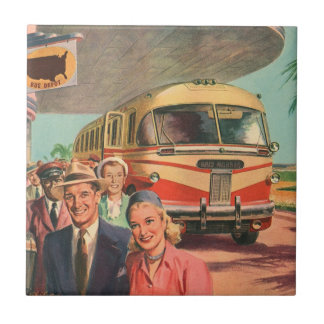 Vintage Bus Depot with Passengers on Vacation Ceramic Tile