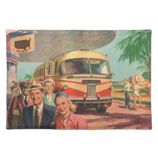 Vintage Bus Depot with Passengers on Vacation Cloth Placemat