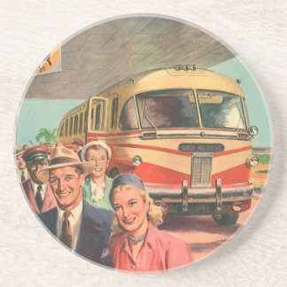 Vintage Bus Depot with Passengers on Vacation Drink Coaster