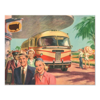 """Vintage Bus Depot with Passengers on Vacation 4.25"""" X 5.5"""" Invitation Card"""