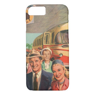 Vintage Bus Depot with Passengers on Vacation iPhone 7 Case