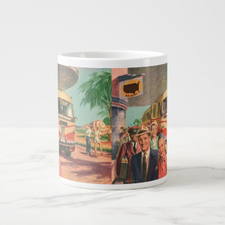 Vintage Bus Depot with Passengers on Vacation Large Coffee Mug