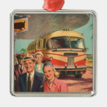 Vintage Bus Depot with Passengers on Vacation Christmas Ornament