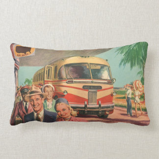 Vintage Bus Depot with Passengers on Vacation Throw Pillows