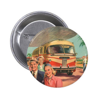 Vintage Bus Depot with Passengers on Vacation Pinback Button