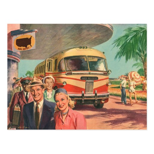 Vintage Bus Depot with Passengers on Vacation Postcard
