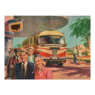 Vintage Bus Depot with Passengers on Vacation Poster