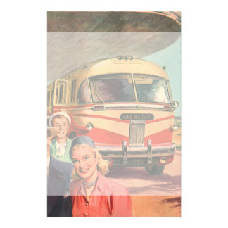 Vintage Bus Depot with Passengers on Vacation Stationery