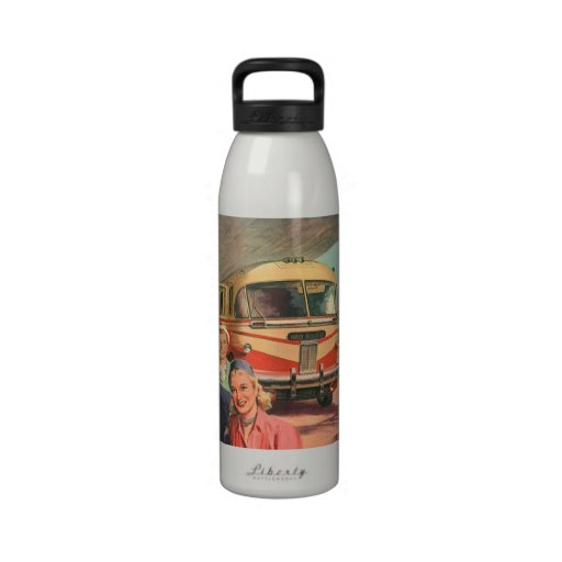 Vintage Bus Depot with Passengers on Vacation Reusable Water Bottles