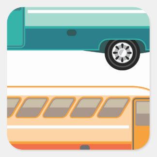 Vintage bus square sticker