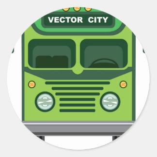 Vintage bus vector classic round sticker