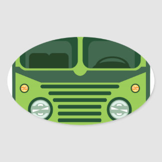 Vintage bus vector oval sticker