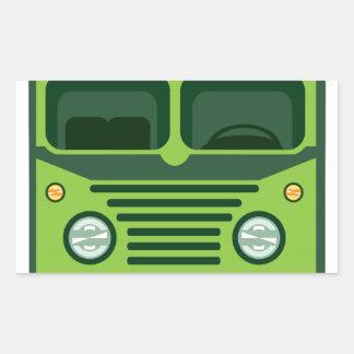 Vintage bus vector rectangular sticker