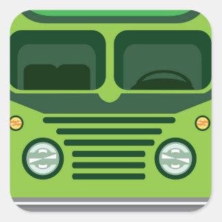 Vintage bus vector square sticker