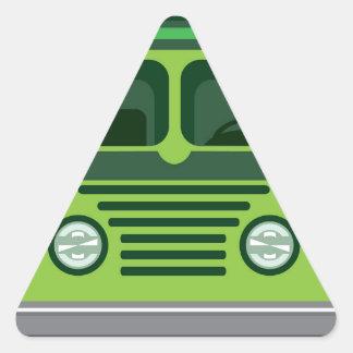 Vintage bus vector triangle sticker