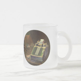 Vintage Business, Accountant Accounting Machine Frosted Glass Coffee Mug