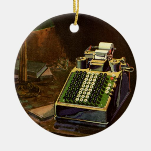 Vintage Business, Accountant Accounting Machine Christmas Ornament
