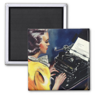 Vintage Business, Admin Secretary Typing a Letter 2 Inch Square Magnet