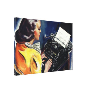 Vintage Business, Admin Secretary Typing a Letter Stretched Canvas Prints