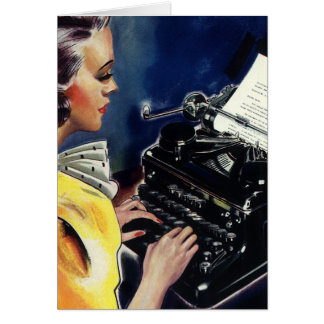 Vintage Business, Admin Secretary Typing a Letter Greeting Card