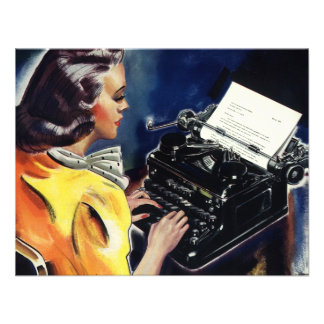 Vintage Business Admin Secretary Typing a Letter Invite