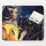 Vintage Business, Admin Secretary Typing a Letter Mousepad