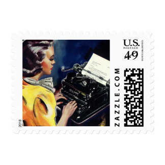 Vintage Business, Admin Secretary Typing a Letter Postage Stamp