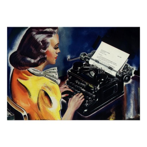 Vintage Business, Admin Secretary Typing a Letter Print