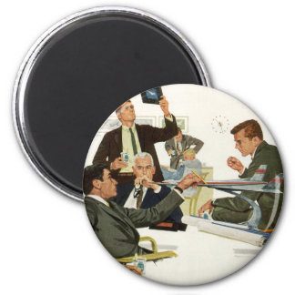 Vintage Business, Airline Executives in a Meeting 2 Inch Round Magnet