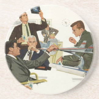 Vintage Business, Airline Executives in a Meeting Beverage Coasters