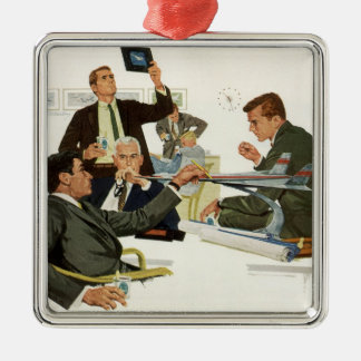Vintage Business, Airline Executives in a Meeting Metal Ornament
