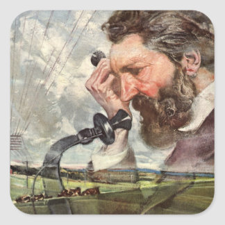 Vintage Business, Alexander Graham Bell Telephone Square Sticker