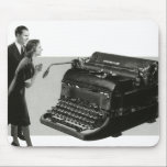"""Vintage Business, Antique Office Manual Typewriter Mouse Pad<br><div class=""""desc"""">Vintage illustration black and white business design featuring a huge old fashioned manual typewriter for literary book writers to type a novel. A businessman and woman executive standing next to it. Antique office equipment for administrative assistants to assist the management team with typing letters and other office correspondence.</div>"""
