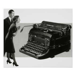 Vintage Business, Antique Office Manual Typewriter Poster