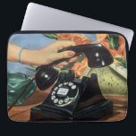 """Vintage Business, Antique Phone with Rotary Dial Laptop Sleeve<br><div class=""""desc"""">Vintage illustration business communications office design featuring a woman secretary&#39;s hand picking up an old fashioned rotary dial phone. A fun girlie image with pretty pink nails manicure! Ladies,  call your bff,  it&#39;s time to talk,  gossip and spread some rumors!</div>"""