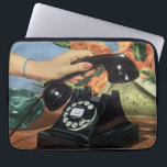 "Vintage Business, Antique Phone with Rotary Dial Laptop Sleeve<br><div class=""desc"">Vintage illustration business communications office design featuring a woman secretary&#39;s hand picking up an old fashioned rotary dial phone. A fun girlie image with pretty pink nails manicure! Ladies,  call your bff,  it&#39;s time to talk,  gossip and spread some rumors!</div>"