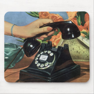 Vintage Business, Antique Phone with Rotary Dial Mouse Pad