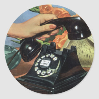 Vintage Business, Antique Rotary Dial Telephone Classic Round Sticker