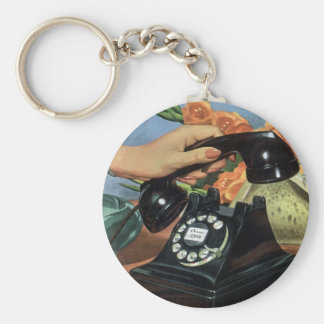 Vintage Business, Antique Rotary Dial Telephone Basic Round Button Keychain