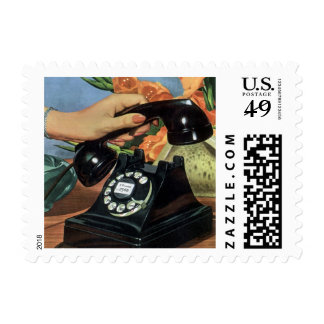 Vintage Business, Antique Rotary Dial Telephone Postage Stamp