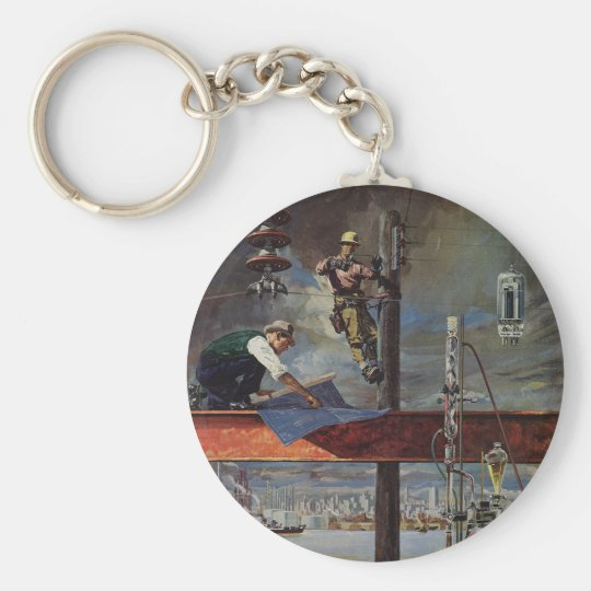 Vintage Business, Architects and Construction Keychain