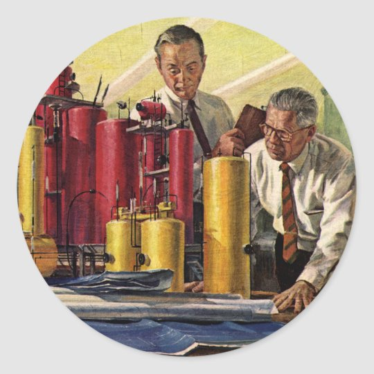 Vintage Business, Architects Working in an Office Classic Round Sticker