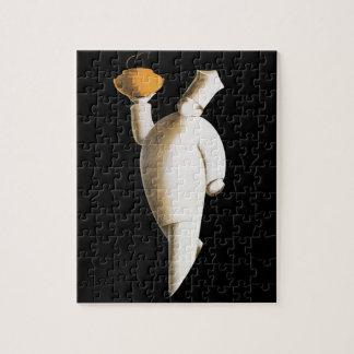Vintage Business, Art Deco Restaurant Chef Jigsaw Puzzle